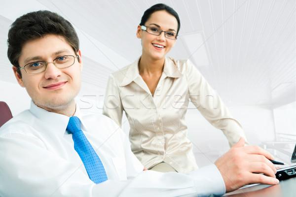 Stock fotó: Okos · üzletember · portré · főnök · ül · asztal
