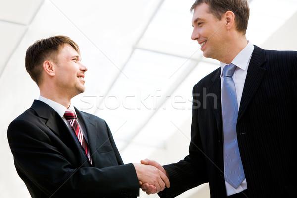 Foto stock: Bem · sucedido · retrato · dois · feliz · empresários