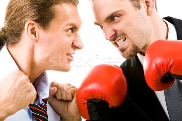 Mérges férfiak portré agresszív üzletemberek boxkesztyűk Stock fotó © pressmaster