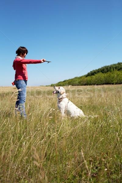 Foto stock: Adelante · foto · mujer · formación · perro · cielo