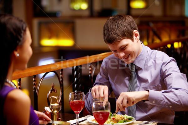 Сток-фото: еды · портрет · пару · блюдо · ресторан · стекла