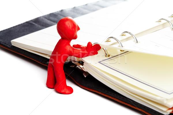 ストックフォト: ノートブック · 画像 · 赤 · 男 · ビジネス · スペース