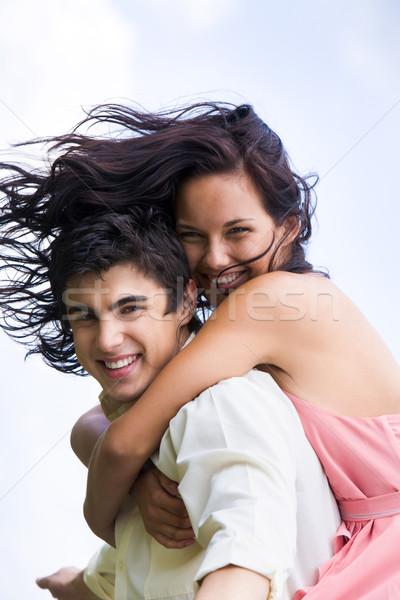 Stok fotoğraf: çift · fotoğraf · mutlu · kız · yakışıklı