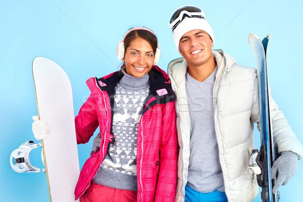Wintersport portret mooie meisje knappe man Stockfoto © pressmaster