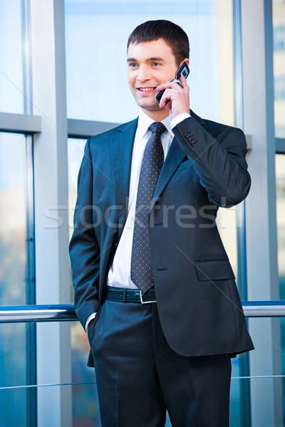 Photo stock: Homme · d'affaires · portrait · appelant · mobiles · bureau · affaires