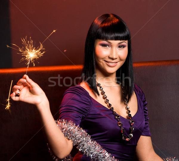 Stock fotó: Lány · fény · portré · mosolygó · nő · bengáli · karácsony
