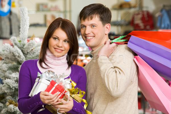 Foto stock: Compras · casal · retrato · marido · esposa · homem