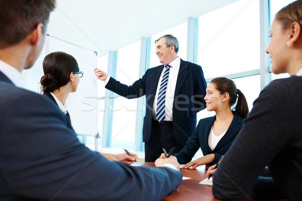 Stock fotó: Bemutat · ötletek · okos · főnök · mutat · tábla