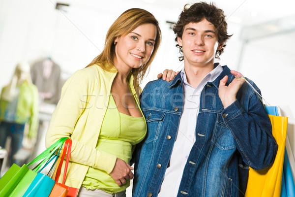 Boldog portré szerelmi pár néz kamera Stock fotó © pressmaster