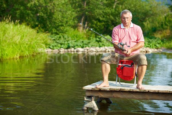 Photo stock: Supérieurs · homme · pêche · photo · week-end · eau
