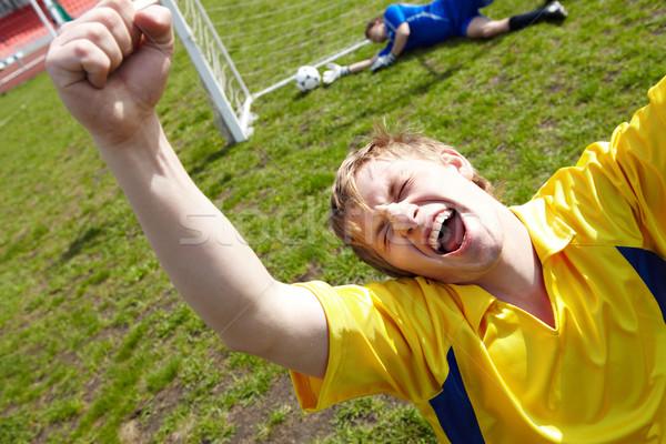 Stok fotoğraf: Gol · görüntü · futbolcu · sevinç · futbol