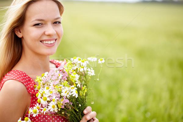 Zdjęcia stock: Dość · dziewczyna · portret · młoda · kobieta · kwiaty