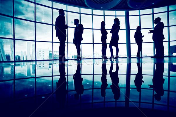 Stockfoto: Business · praten · verscheidene · werknemers · communiceren