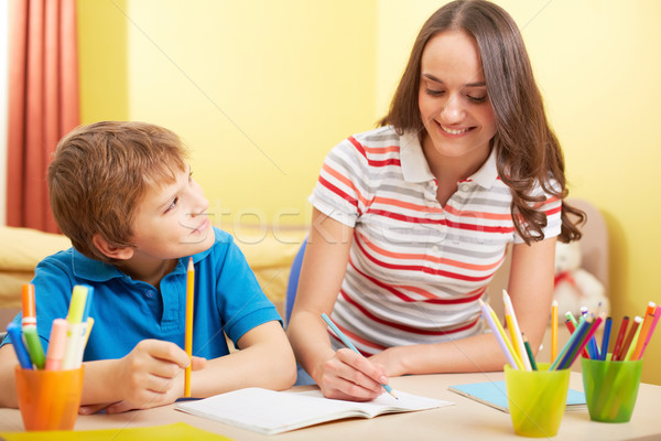 Schoolwork with mother Stock photo © pressmaster