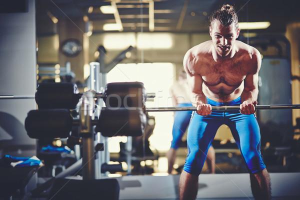 Gewichtheffer portret topless man gewicht Stockfoto © pressmaster