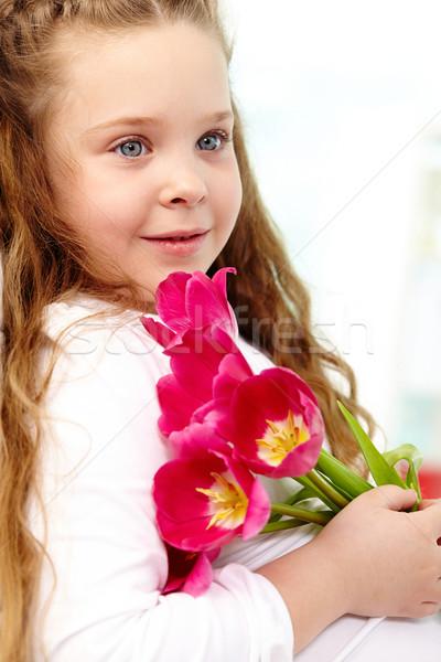 девушки тюльпаны портрет счастливая девушка красный Сток-фото © pressmaster