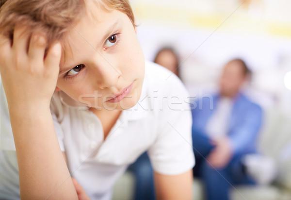 Sérieux lad portrait garçon parents femme Photo stock © pressmaster