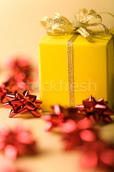 Noel atmosfer fotoğraf sarı altın şerit Stok fotoğraf © pressmaster