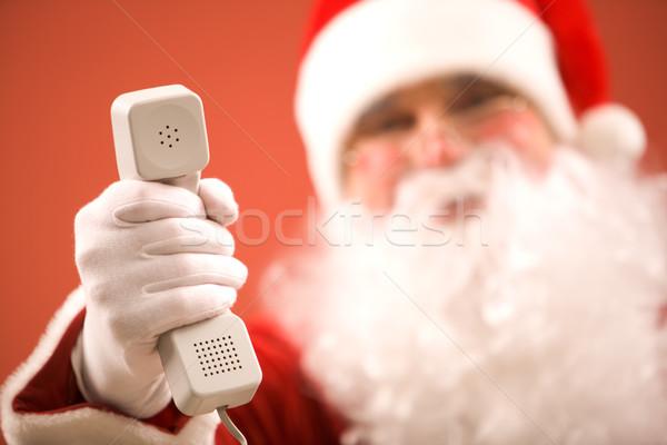 Stok fotoğraf: Fotoğraf · noel · baba · telefon · adam · teknoloji · kış