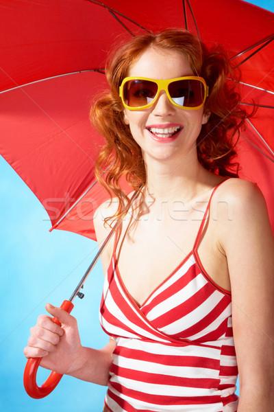 Yaz sevinç portre zarif kadın güneş gözlüğü Stok fotoğraf © pressmaster