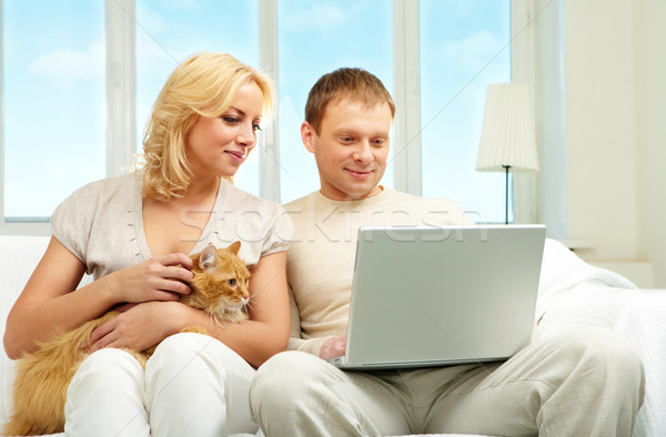 Stockfoto: Paar · computer · vergadering · sofa · naar