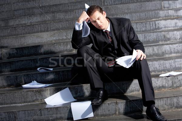 Sonuçları kriz portre üzücü işadamı oturma Stok fotoğraf © pressmaster