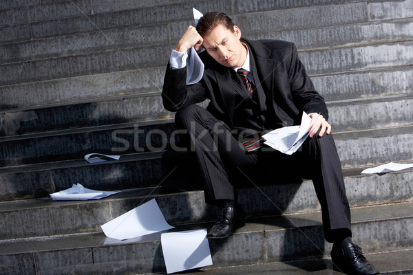 Gevolgen crisis portret triest zakenman vergadering Stockfoto © pressmaster