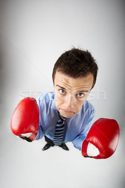 Boxoló halszem piros kesztyű néz kamera Stock fotó © pressmaster