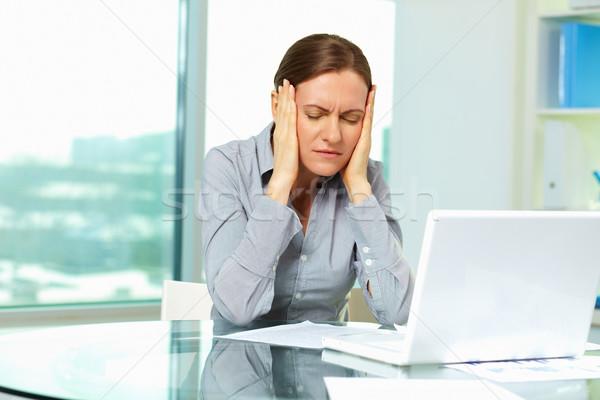 Yorgunluk kadın görüntü rahatsız işkadını dizüstü bilgisayar Stok fotoğraf © pressmaster