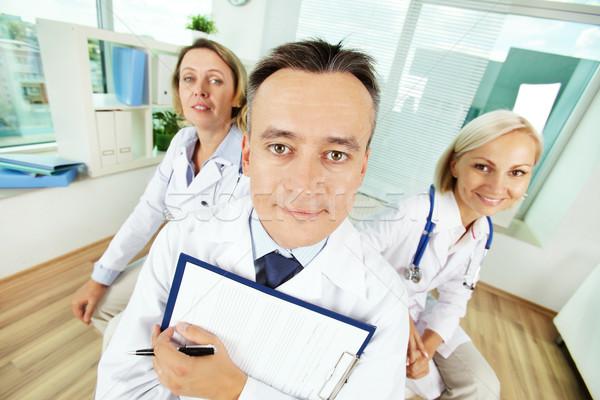 Stock fotó: Vicces · orvosok · portré · férfi · vágólap · kettő