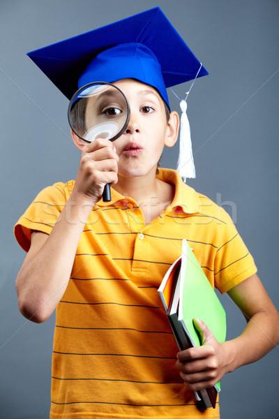Foto stock: Inteligente · detetive · retrato · curioso · menino · graduação