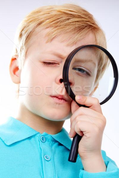 Zdjęcia stock: Patrząc · lupą · portret · dziecko · pracy · dziecko