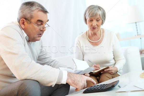 Otthoni pénzügyek tervez idős pár pár női fehér Stock fotó © pressmaster