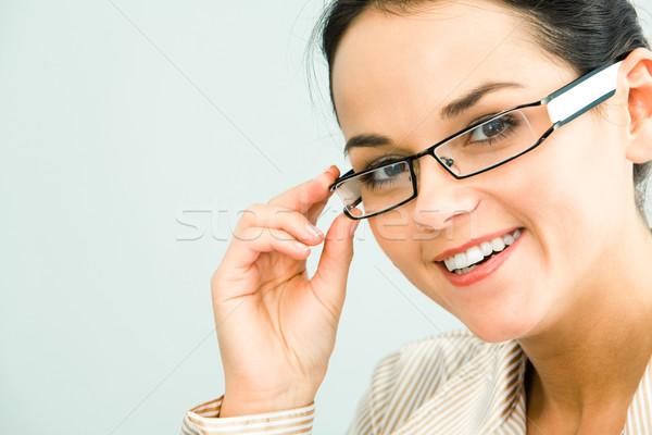 Prachtig zakenvrouw gezicht aanraken bril business Stockfoto © pressmaster