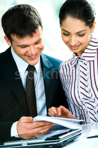 Stock fotó: Két · személy · portré · üzletember · nő · együtt · dolgozni · üzlet