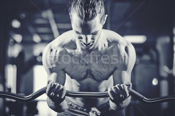 Levantador de pesas retrato deportivo top-less hombre Foto stock © pressmaster