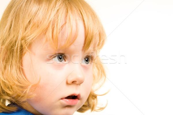 Foto stock: Bonitinho · bebê · cara · pequeno · menina