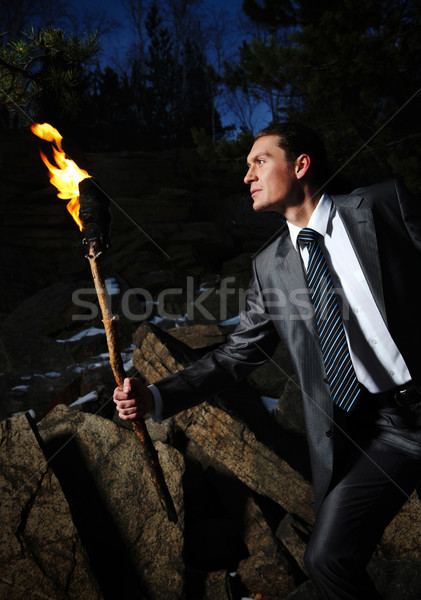 Man with fire Stock photo © pressmaster