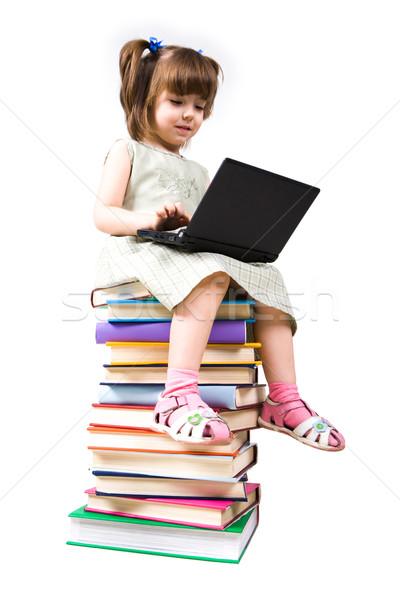 Akıllı portre zeki kız oturma kitaplar Stok fotoğraf © pressmaster