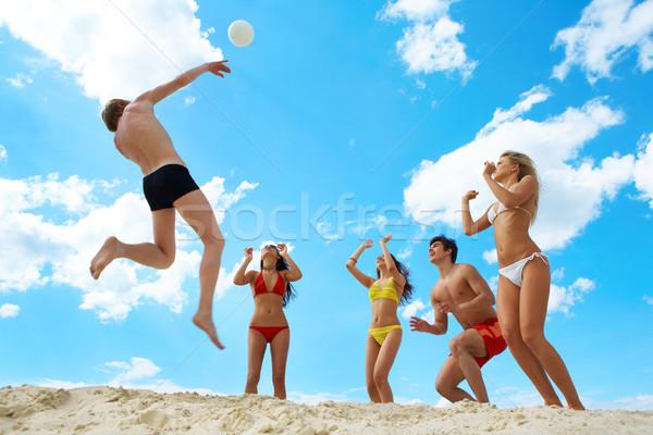 волейбол фото радостный люди рук Сток-фото © pressmaster