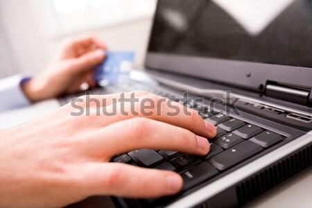 ключами фото женщины рук клавиатура Сток-фото © pressmaster