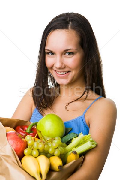Stock fotó: Egészséges · életmód · portré · csinos · lány · nagy · papír