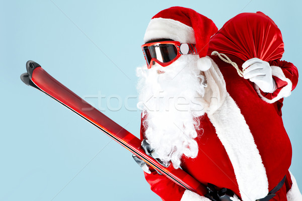 Santa with skis Stock photo © pressmaster