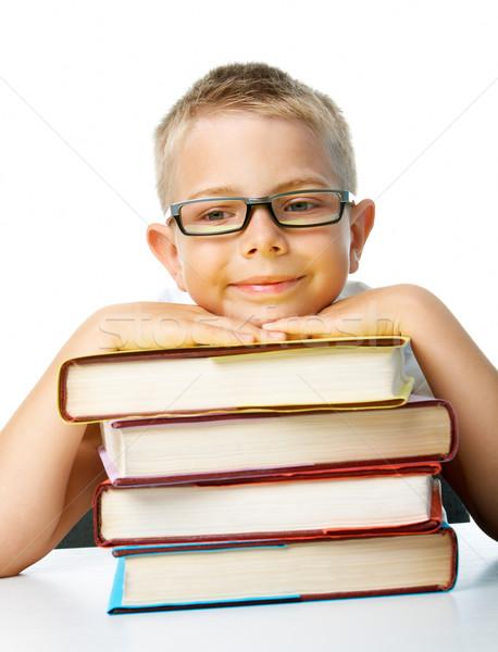 Zdjęcia stock: Smart · chłopca · twarz · pracowity · uczeń · głowie