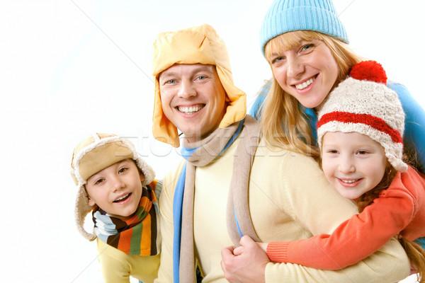 Zdjęcia stock: Rodziny · zimą · dwa · dzieci · żona · ubrania