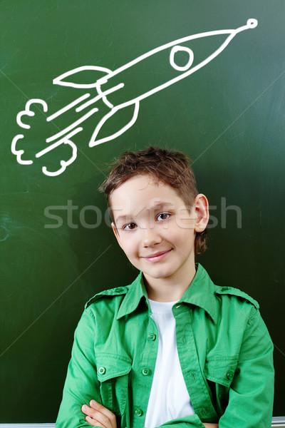 Toekomst piloot portret smart jongen Blackboard Stockfoto © pressmaster
