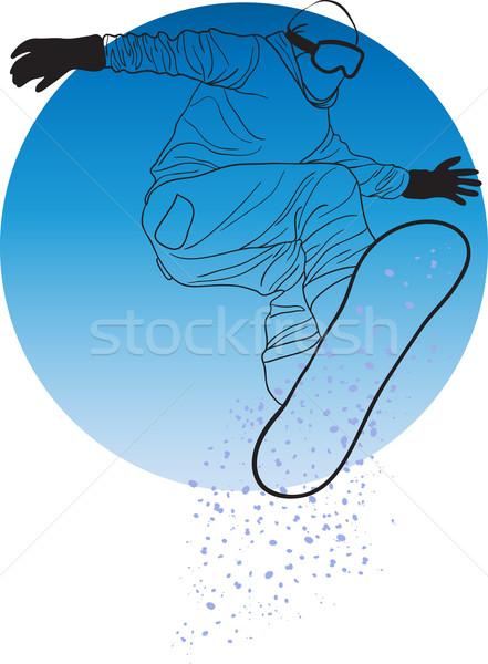 Stockfoto: Witte · man · sport · kunst · winter