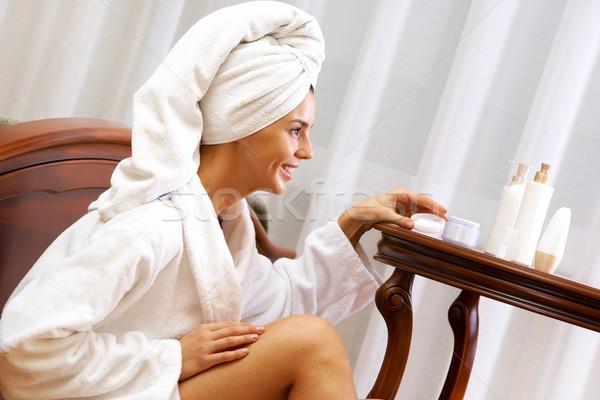 Stock fotó: Bőrápolás · portré · csinos · női · elvesz · törődés