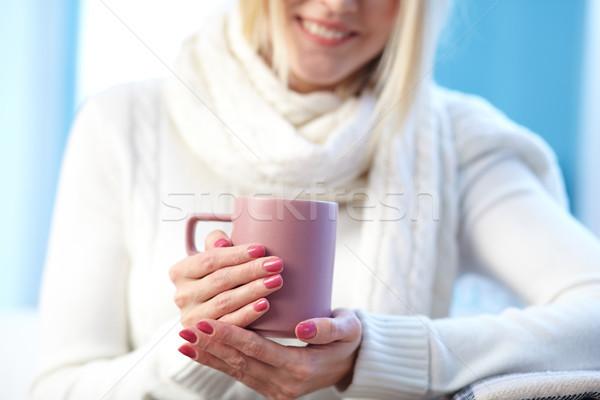 Női csésze fotó rózsaszín porcelán kezek Stock fotó © pressmaster