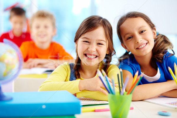 Stock photo: Diligent pupils